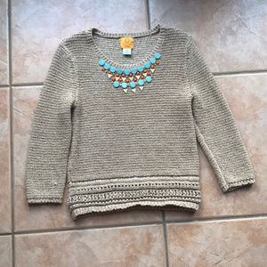 3/$30 Ruby Rd. Tan Beaded Front Sweater Size MP